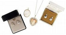 Gold items- 6 (Six), including two pair of earrings set with diamonds, a shell carved cameo in a heart shaped setting with chain, and a mother of pearl cameo pin / pendant, 17.8g TW