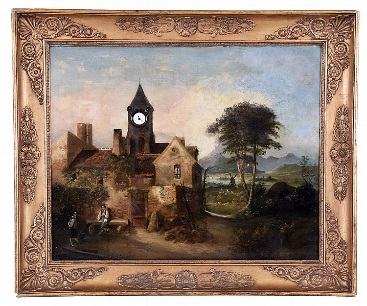 A large European oil on canvas with clock and music box, the painting of a landscape with buildings, animals, and two figures with dog at left, and mountains in the background, church tower with Roman numeral enamel watch dial, the work framed in a