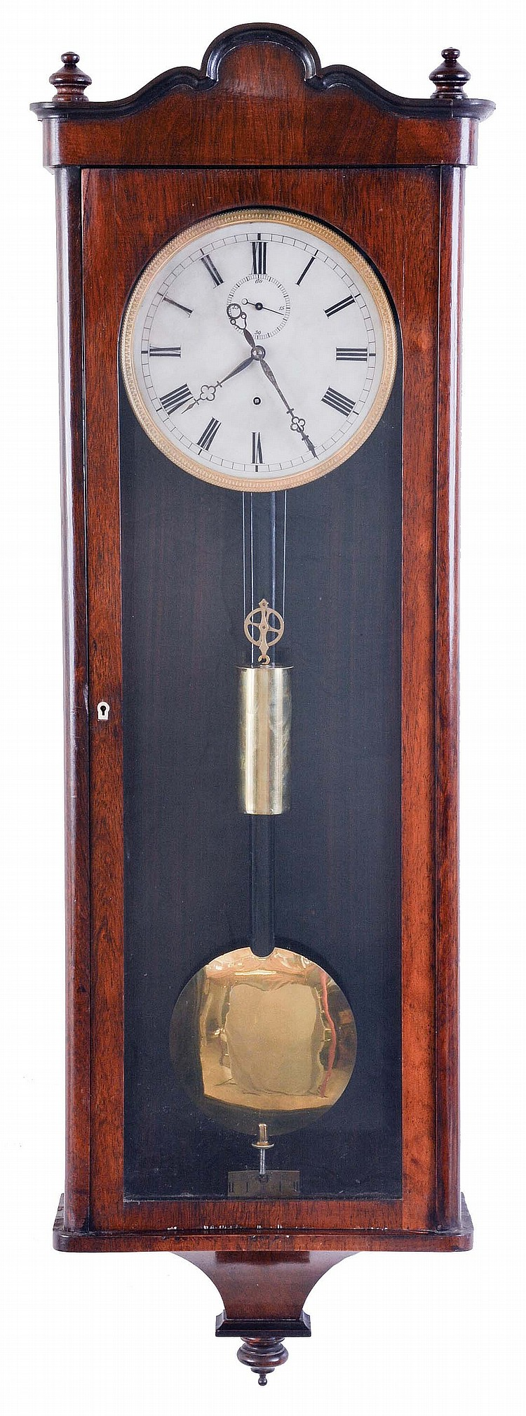Germany, in Viennese style, a Biedermeier hanging regulator, rosewood veneered case with incurved bottom, and shaped top with narrow cavetto molding, Roman numerals on one piece alabaster or glass dial, 8 day timepiece movement, brass pendulum with