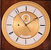 Laterndluhr, dial signed, Dorfer in Wien, Veinnese wall clock, period movement and pendulum now in a 20th Century European case of high quality. Glazed mahogany and mahogany veneer case with ebonized moldings, gilt engine turned bezel, signed Roman
