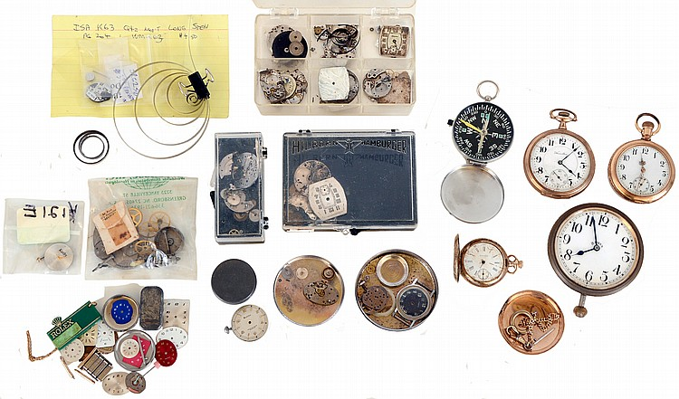 Lot of pocket and wristwatches, including a Hamilton 972, a Waltham 0 size pendant watch, a Swiss pocket watch, an 8 day travel clock case / movement, a Movado wristwatch with cal 75 movement, a Movado Museum quartz, a Swiss Army quartz, many other