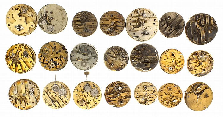 Lot of pocket watch movements, including one signed Arnold / Chas. Frodsham with Nicole's patent keyless work, an early 19th century English lever fusee for an Albany N.Y. retailer, a 19 1/2 ligne movement by IWC, an engraved Swiss movement for the