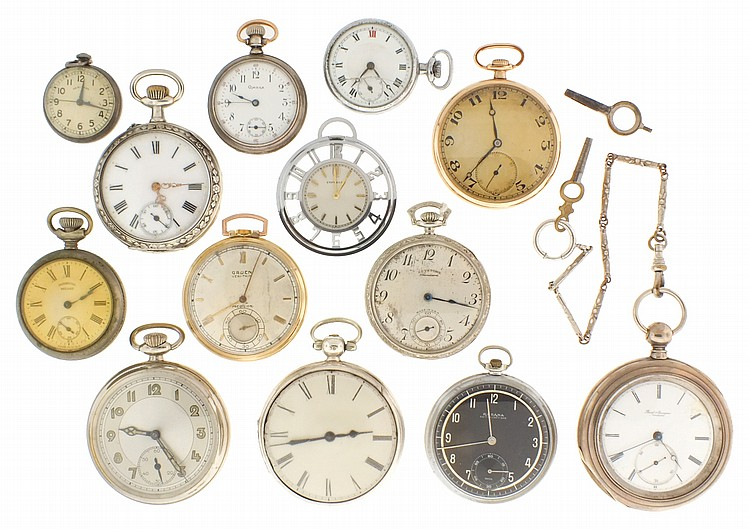 Pocket watches- 13 (Thirteen), including a sterling cased English verge fusee by Thos. DeGaris, a Gruen 17 jewel veri thin, a 15 jewel Majestic / Wittnauer, a silver cased, 15 jewel, keywind Borel & Courvoisier, an 0 size, sterling silver Omega, a 17