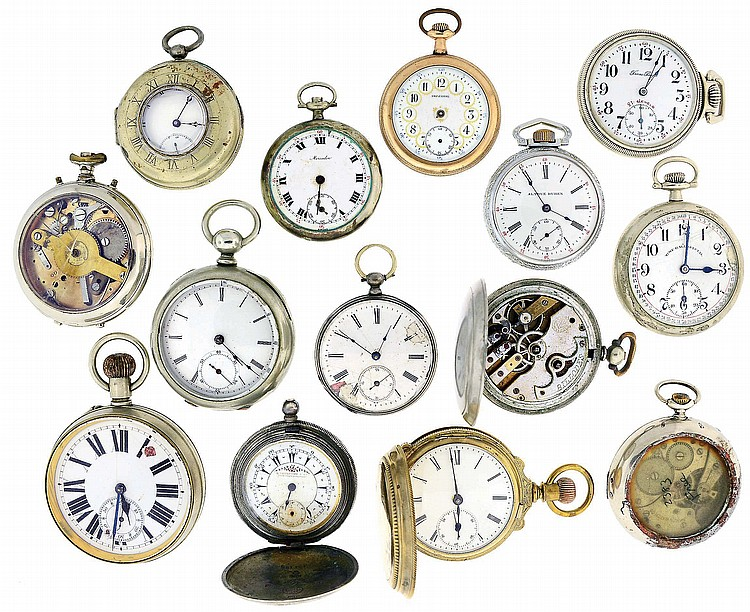 Pocket watches- 14 (Fourteen): All Swiss, oversize- 12 size, stem and key wound, gold filled, silver, and nickel cases, names including Billodes, Time Ball Special, Trans Pacific, Imperial, Mercador, and others