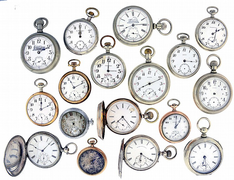 Pocket watches- 17 (Seventeen): All Swiss, 18- 12 size, key and stem wound, gold filled, silver, and nickel cases, names including Droz & Perret, Manhattan, Pontiac, Gustafson, Lancet, and others