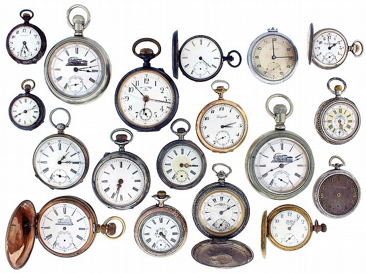 Pocket watches- 18 (Eighteen): All Swiss, 18 to 0 size, stem and key wound, gold, gold filled, silver, nickel, and gunmetal cases, names including Billodes, Pierce, Dingwall, Lady Suffolk, Roskopf, and others, also a Louis Jacot pendant watch with