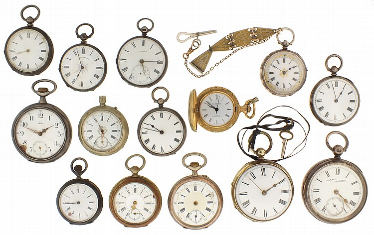 Lot of pocket watches and movements for parts or restoration, watches including Omega, an English lever fusee, an English verge fusee, a number of lady's Swiss pocket watches, three Tiffany pendant watch movements, a 19th century two train movement,