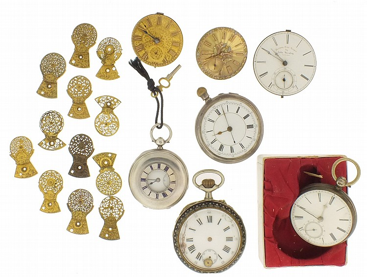 Pocket watches and parts, including English levers, a large Swiss with niello case, two early movements with gold dials, one an American contract watch with duplex escapement, and a group of English verge balance cocks