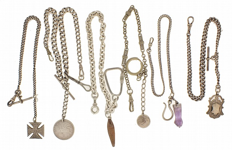 Watch chains- 11 (Eleven), all silver, some marked sterling, various link styles, and some with attached fobs, 10- 15
