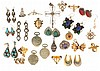 Large lot of silver and gold filled jewelry, many items marked sterling, and some set with semi precious stones, including watch pins, earrings, brooches, pendants, and more, approximately 5 Troy oz.