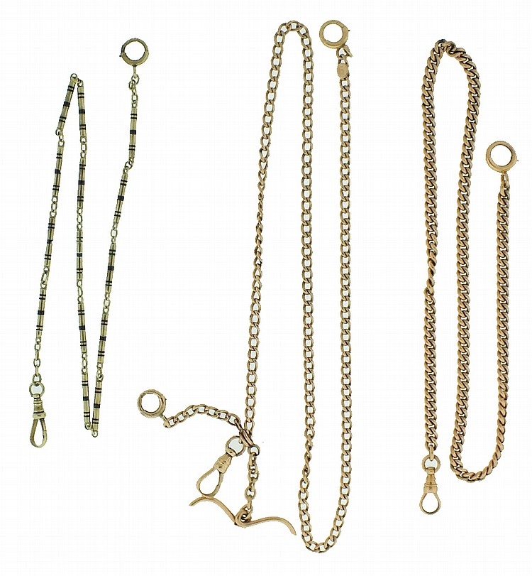 Watch chains- 3 (Three). Two curb link in 14 karat rose gold, one with sliding t- bar, the other with cylindrical links, in 14 karat green gold with black enamel bands, length 13 1/2