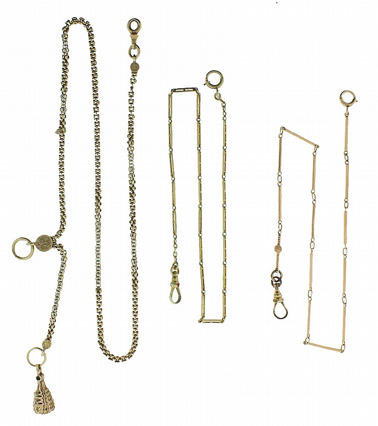 Watch chains- 3 (Three), the first a single Albert in 14 karat yellow gold, with folding fan fob, 21