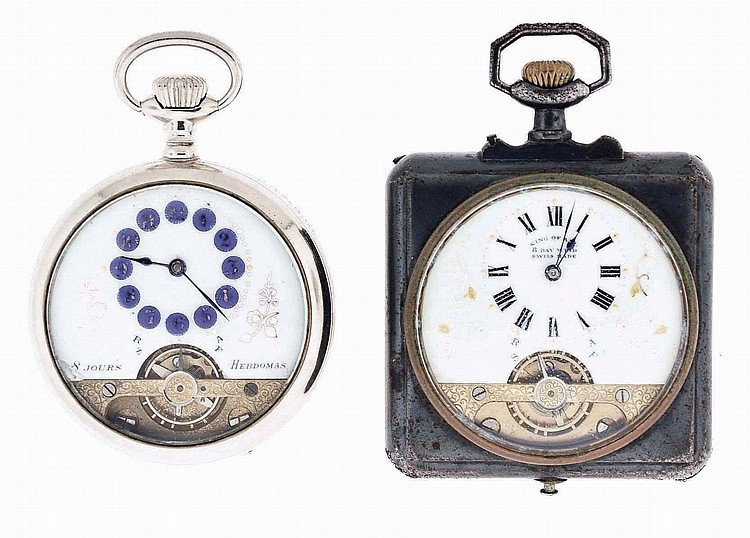 Pocket watches- 2 (Two): Both 8 day Hebdomas, the first with 7 jewel movement, Arabic numeral white enamel dial, 49mm nickel open face case, the other with Roman numeral enamel dial marked