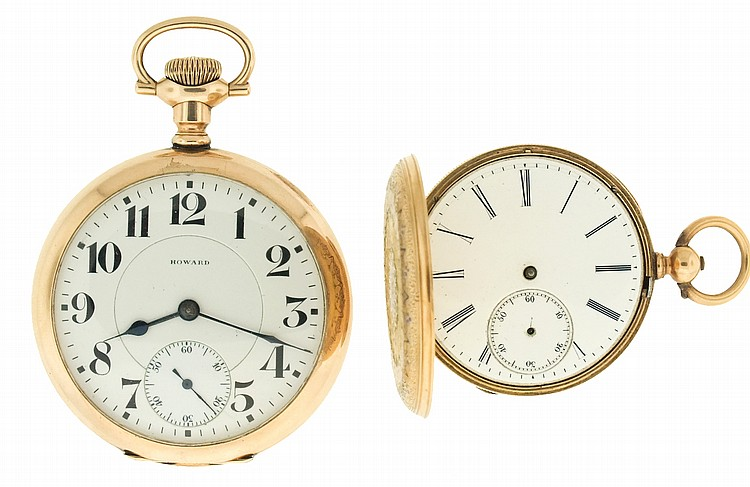 Pocket watches- 2 (Two), the first a 16 size Howard Keystone series 2, 17 jewel nickel movement, Arabic numeral white enamel dial, gold filled open face case, serial #1122683, the other by J. M. Sandol, Geneve, 13 jewel gilt bar movement, Roman