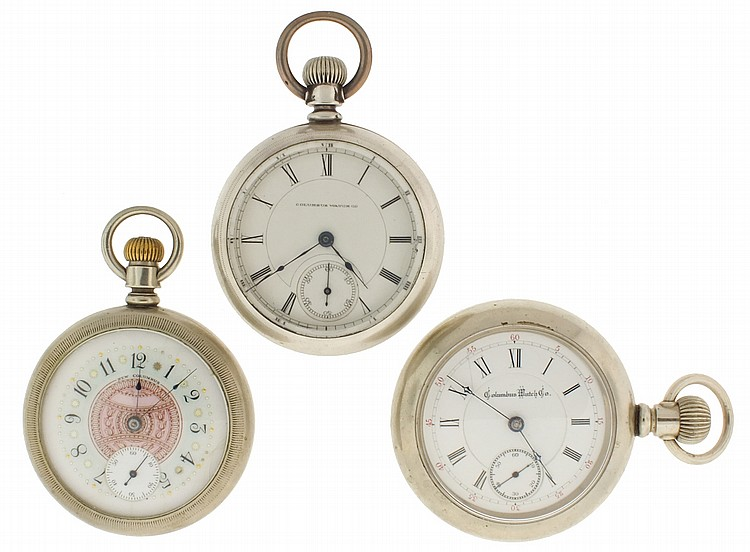 Pocket watches- 3 (Three), all 18 size Columbus, the first with 16- 17 jewel damascened nickel movement, Roman numeral white enamel dial, silverode open face case, serial #104016, the next with 11- 15 jewel damascened nickel movement, Roman numeral