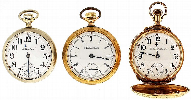Pocket watches- 3 (Three), all 18 size, the first a Haminton 940, 21 jewel nickel movement, Arabic numeral white enamel dial, gold filled, box hinge hunting case, serial #912747, the next a Hamilton 936, 17 jewel nickel movement, Roman numeral white