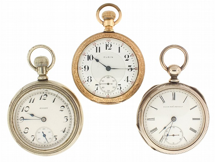 Pocket watches- 3 (Three), all 18 size Elgin, the first a