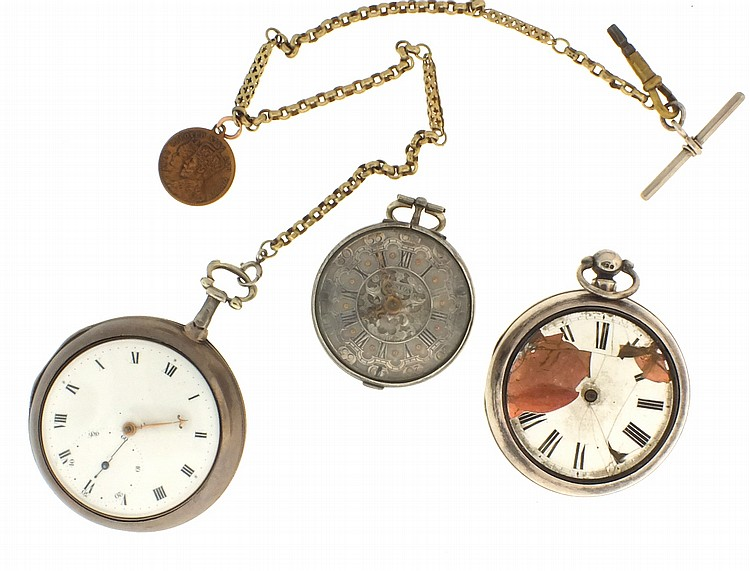 Pocket watches- 3 (Three), all English verge fusees, the first by Thos. Greaves, gilt full plate movement, Roman numeral white enamel dial with hacking seconds, sterling silver pair case, serial #2722, the next by J. Butt, London, gilt full plate