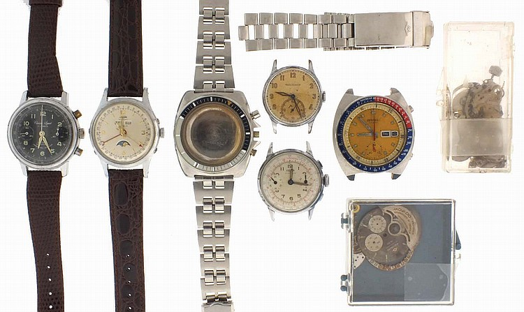 Wrist watches- 6 (Six), including a Movado Datachron for parts, Enicar chronograph with Valjoux 92 movement, Chrono sport chronograph with Landeron 49 movement, an Enicar