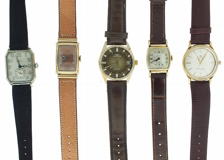 Wrist watches- 10 (Ten), makers including Gruen, Hamilton, Elgin, Hampden, Bulova, Benrus, Fortis, and others, manual and automatic movements