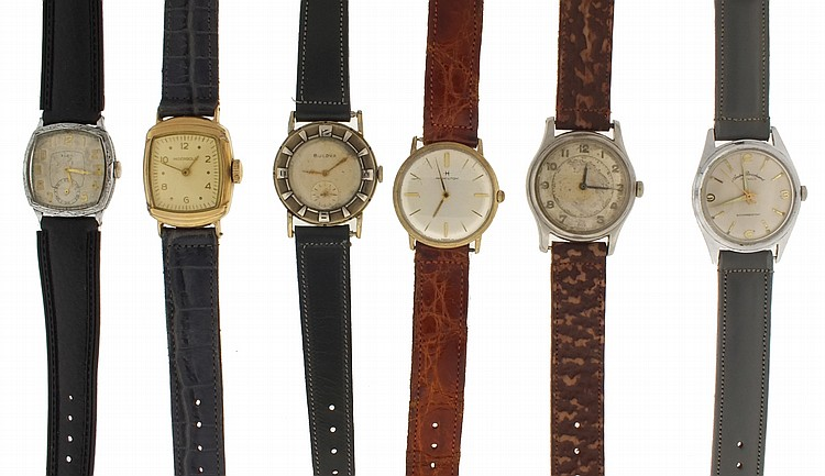 Wrist watches- 12 (Twelve), makers including Jules Jurgensen, Elgin, Wittnauer, Hamilton, Bulova, and others, mechanical, quartz and electronic