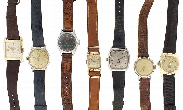 Wrist watches- 13 (Thirteen), makers including Omega, Gruen, Enicar, Cortebert, Elgin and others, together with empty cases, and three pocket watches for parts