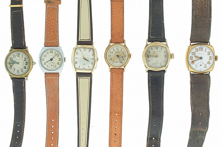 Wrist watches- 13 (Thirteen), makers including Waltham, Bulova, Elgin, Hallmark, Avila, and others, manual and automatic movements