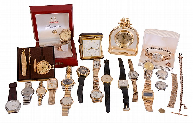 Wrist watches- 18 (Eighteen), makers including Omega, Bulova, Lucerne, Waltham, Seiko, Helbros, and others, together with a Westclox travel alarm clock and a Linden quartz clock