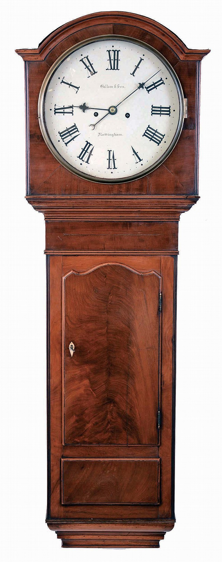 Gallam & Sons, Nottingham, England, tavern wall clock, 8 days, time and bell strike, weight driven movement in a mahogany veneer case with crotch mahogany door and painted metal dial