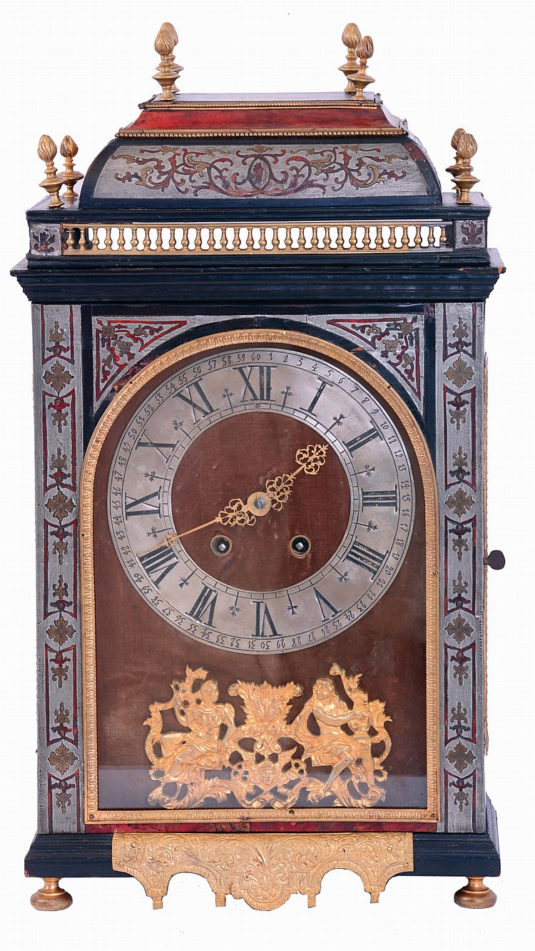 France, Pendule Religieuse, ebonized case with fine moldings and boulle work, the door with pewter fields inlaid with red tortoise shell and engraved brass, glazed case sides with tortoise panels and brass stringing, removable caddy top with inlaid