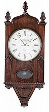 England, 8 day, time and strike spring fusee brass movement Gothic style wall clock signed Gardner, Hull.