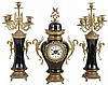 French blue porcelain ginger jar 8 day time and strike mantel clock with pair of matching candelabra Japy Freres Medaille D'Honneur movement with countwheel bell striking, dial signed