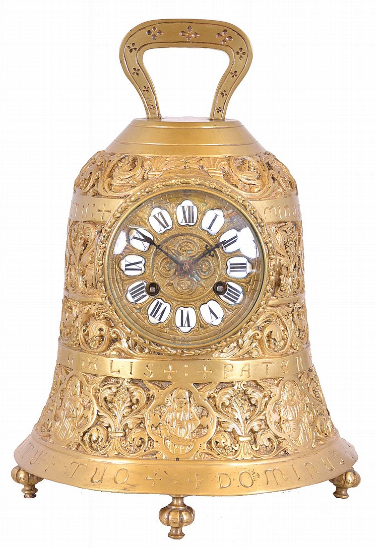 France, brass bell form table clock, the case with foliate designs and human figures playing various musical instruments, and Latin phrases with religious significance, top with handle, and base with gadrooned feet, cast bezel with pendant husks and