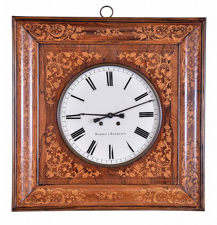 Bordes a Bordeaux, France, wall clock, 8 day, time and strike, spring driven movement with silk thread suspension in a rosewood case with satinwood inlaid marquetry and 12 inch reverse painted on glass Roman numeral dial with maker's signature
