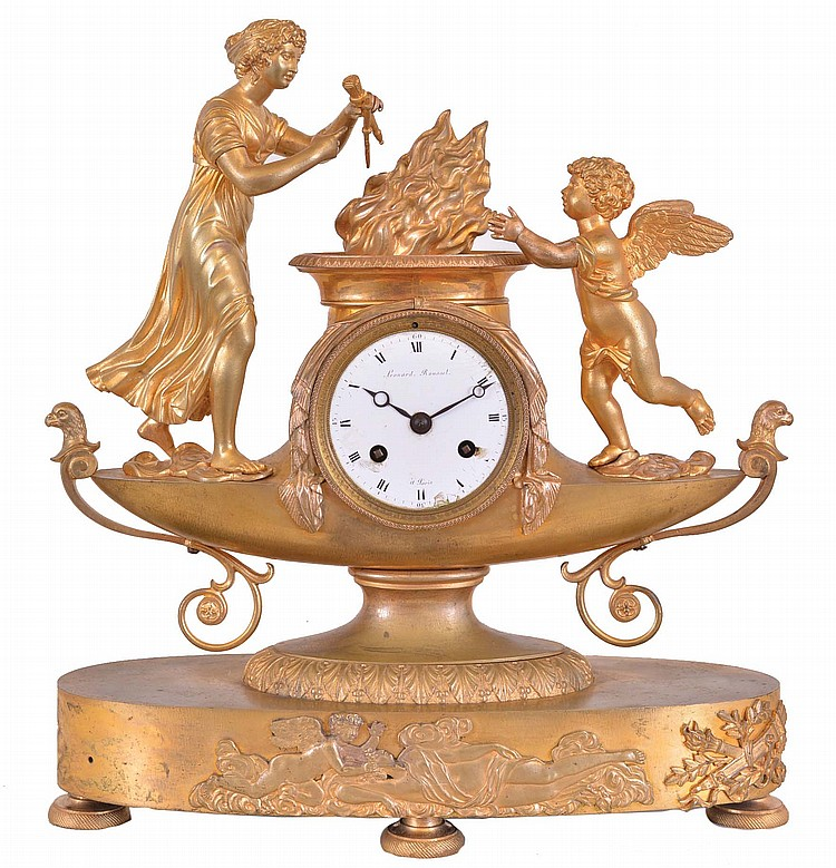 Leonard Rousset, a Paris, a gilt bronze figural mantel clock, the oblong base on engine turned feet with applied cast relief of Cupid and Psyche, supporting the lamp form clock case with figure of Venus casting Cupid's weapons into the fire, signed