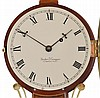 Foster Campos, Pembroke, Mass., 8 day, time and strike weight brass movement cross- banded mahogany case Patent or Banjo timepiece, numbered 11.