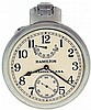 Hamilton Watch Co., Lancaster, Penn., model 22 chronometer with wind indicator, 35 size, 21 jewels, stem wind, pin / stem set, adjusted to 6 positions and temperature, straight line damascened nickel plate movement, with lever escapement and