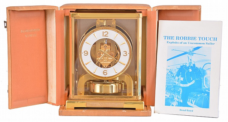 Jaeger- LeCoultre, Switzerland, Atmos clock, glazed, gilt brass case with presentation plaque,