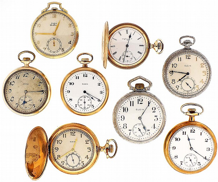 Pocket watches- 8 (Eight), 16 and 18 size Elgin, 7- 17 jewel nickel movements, white enamel dials, nickel, and gold filled open face and hunting cases