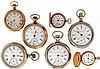 Pocket watches- 7 (Seven), 18- 3 / 0 size Hampden, 7- 15 jewel nickel and gilt movements, metal and white enamel dials, sterling silver, nickel, and gold filled open face and hunting cases