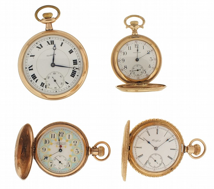 Pocket watches- 6 (Six), and chains, the first a 16 size Illinois, 17 jewel nickel movement, Roman numeral white enamel dial, gold filled open face case, serial #2760145, the next a 6 size Waltham, 7 jewel gilt movement, Arabic numeral O'Hara style