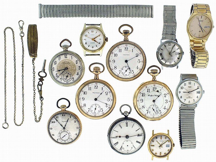 Pocket watches- 6 (Six): Including Hampden, Waltham, Elgin and an English lever fusee, 18- 12 size, 7- 17 jewels, gold filled and sterling silver, together with 8 wristwatches, two pairs of cufflinks, a pair of earrings, and two watch chains