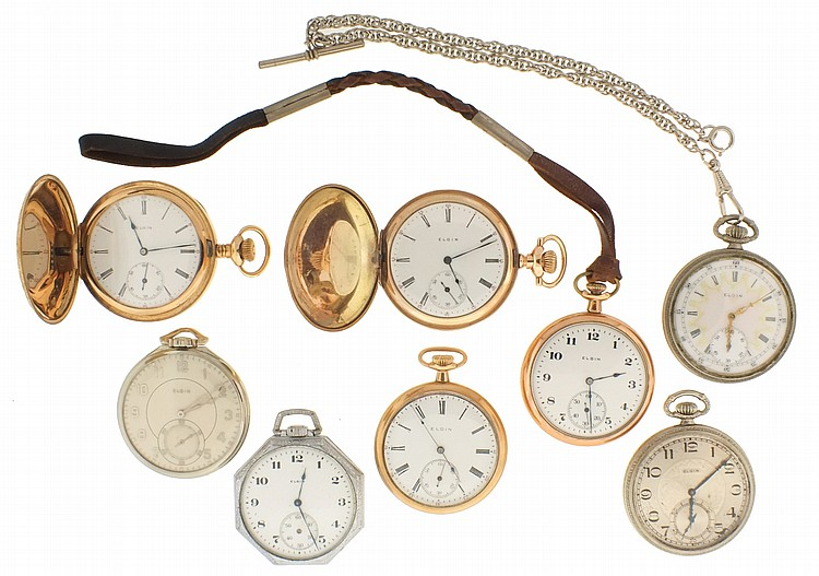 Pocket watches- 7 (Seven), all 12 size Elgin, 7- 17 jewel movements, enamel and metal dials, yellow and white gold filled open face and hunting cases and two nickel cases, one with chain