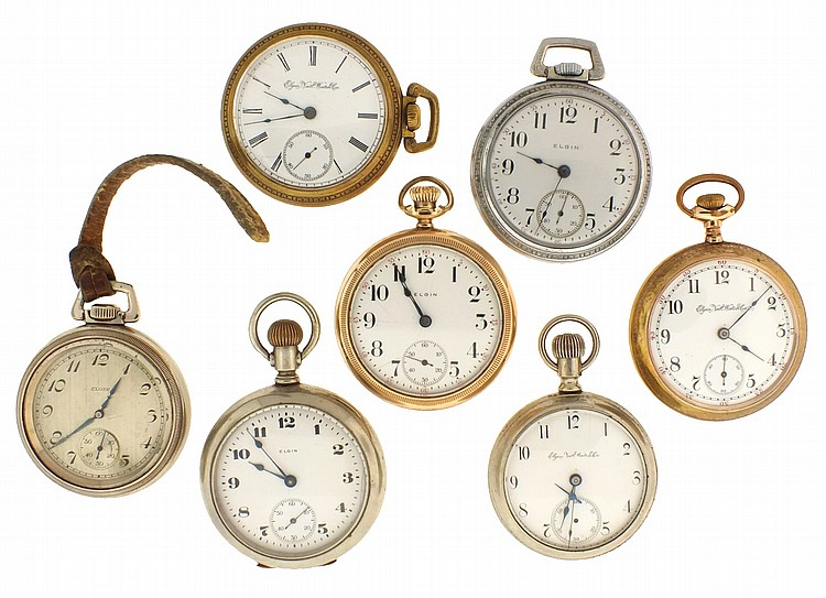 Pocket watches- 7 (Seven), all 18 size Elgin, 7- 15 jewel movements, metal and enamel dials, gold filled and nickel cases