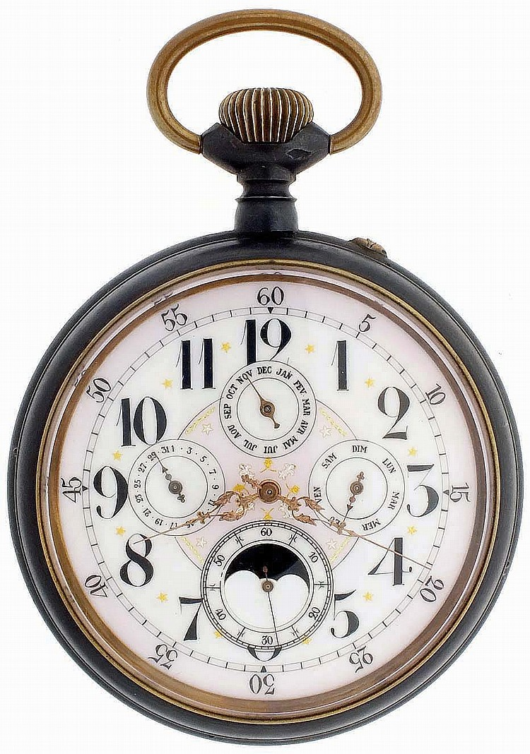 Switzerland, oversized pocket watch form desk clock with triple calendar and phases of the moon, 15 jewels, stem wind and pin set, damascened nickel bar movement with lever escapement and uncut bimetallic balance, in a gun metal, hinged back and
