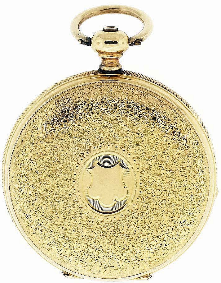 O. G. Lavallee, Switzerland, lady's gold pocket watch, 15 jewels, key wind and set, gilt plate movement with lever escapement in an 18 karat, yellow gold, reeded edge, engraved, hunting case with maker's details engraved on gold cuvette and Roman