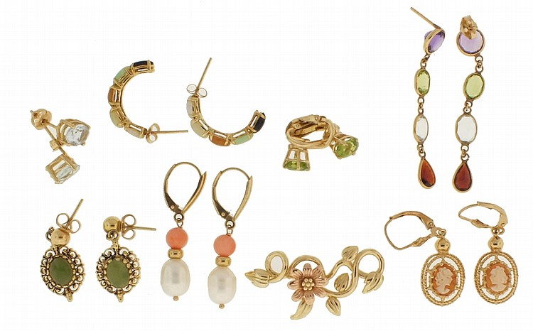 Earrings- Seven pairs of 14 karat gold earrings, some set with multicolor faceted stones, and a 14 karat, two color gold floral pin, 24.4g TW