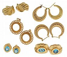 Earrings and pendant frames, all 14 karat yellow gold, two pairs of earrings set with faceted blue stones, 46g TW