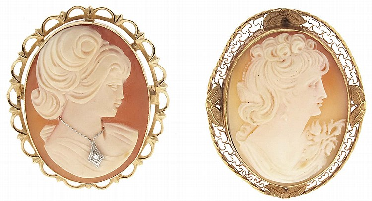 Cameos- 2 (Two), the first a 14 karat yellow gold pin / pendant, with carved shell depicting a young woman in profile, wearing a necklace with diamond pendant, 1 3 / 8