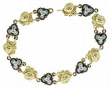 Bracelet, 18 karat yellow gold with alternating rose and trefoil form links, set with colorless, faceted stones, 6 1/2